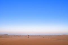 Mann in der beträchtlichen Wüste Stockfotografie