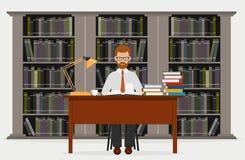 Mann in der Bibliothek Konzept der Ausbildung Ablesen in der Bibliothek eine Vektorillustration vektor abbildung