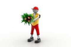 Mann, der Blumenstrauß hält Stockbilder