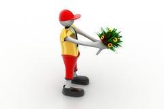 Mann, der Blumenstrauß hält Lizenzfreies Stockfoto