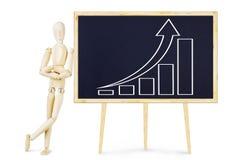 Mann, der Darstellung über Wachstum von Indikatoren tut Stockbilder