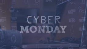 Mann, der das on-line-Einkaufen auf Laptop gegen Cyber-Montag-Zeichen und verschiedene Ikonen tut stock video footage