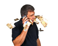 Mann, der das Mobile verwendet Stockbild