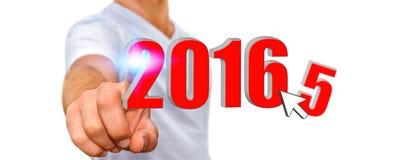 Mann, der das neue Jahr 2016 feiert Lizenzfreie Stockfotografie