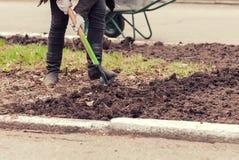 Mann, der den Boden mit gräbt Lizenzfreies Stockbild