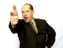 Mann, der den Finger zeigt Stockfoto
