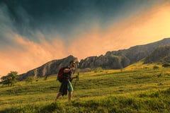 Mann, der in den grünen Bergen wandert Stockbild