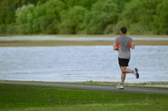 Mann, der in den Park läuft Lizenzfreie Stockfotografie