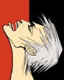 Mann, der in den Schmerz oder im Zorn schreit lizenzfreie abbildung