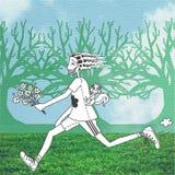 Mann, der in den Wald läuft Stockfotografie