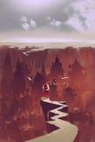 Mann, der die begrabene Stadt betrachtet stock abbildung