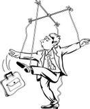 Mann, der die Schnüre zieht Arbeitskraft als Marionettenmarionettentheater Stockfotos