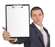 Mann, der ein Blatt Papier hält Lizenzfreies Stockfoto
