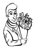 Mann, der ein Bouguet der Blumen anhält Lizenzfreie Stockfotos