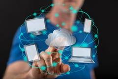 Mann, der ein Datenverarbeitungskonzept der Wolke berührt Stockfotografie