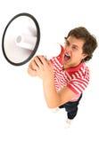 Mann, der ein Megaphon verwendet Stockfoto