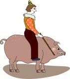 Mann, der ein Schwein reitet Lizenzfreie Stockfotos