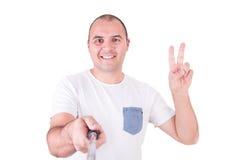 Mann, der ein selfie erhält Lizenzfreie Stockbilder
