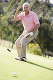 Mann, der ein Spiel des Golfs spielt Lizenzfreies Stockbild
