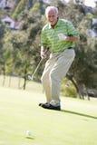 Mann, der ein Spiel des Golfs spielt Lizenzfreies Stockfoto