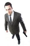 Mann, der eine Gewehr anhält Stockfotos