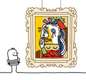Mann, der eine Pablo-Parodie überwacht Stockfotos