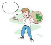 Mann, der eine Tasche des Geldes trägt Lizenzfreies Stockbild