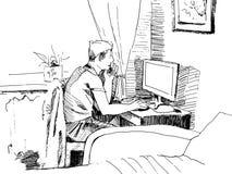 Mann, der an einem Computer arbeitet Handzeichnung Lizenzfreies Stockfoto