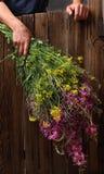 Mann, der einen enormen Blumenstrauß hält Stockfoto