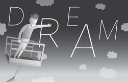 Mann, der einen flyng Traum fängt Stockfotos