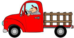 Mann, der einen roten StangeSide-LKW fährt Lizenzfreie Stockfotografie