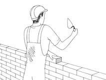 Mann, der einen Skizzen-Illustrationsvektor der Backsteinmauer grafischen schwarzen weißen aufbaut vektor abbildung
