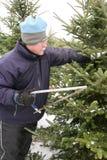 Mann, der einen Weihnachtsbaum schneidet Stockfoto