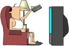 Mann, der Fernsieht stock abbildung