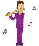 Mann, der Flöte spielt stock abbildung