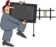Mann, der Flatscreen Fernsehapparat installiert lizenzfreie abbildung