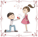 Mann, der Frau bittet, ihn zu heiraten Karikatur-Illustration Stockbild