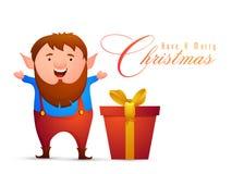 Mann, der frohe Weihnachten feiert lizenzfreie abbildung