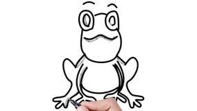 Mann, der Frosch auf whiteboard Hintergrund skizziert stock video footage