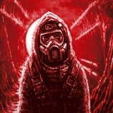 Mann in der Gasmaske Infektionsbereich Rote Farbe lizenzfreie stockfotos