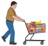 Mann, der geladenen Einkaufswagen drückt vektor abbildung