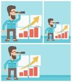 Mann, der Gelegenheiten nach Geschäftswachstum sucht stock abbildung