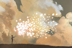 Mann, der glühende Ballone und Schmetterlingsmenge freigibt Stockfotografie