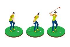 Mann, der Golf, isometrische Illustration des Vektors 3d spielt Golfschwingenstadien, lokalisierte Gestaltungselemente vektor abbildung