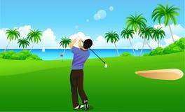 Mann, der Golf spielt Stockfotos