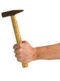 Mann, der Hammer lokalisiert auf Weiß hält Lizenzfreie Stockfotos