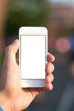 Mann, der Handy im Park verwendet lizenzfreie stockfotos