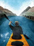 Mann, der hinunter einen Fluss Kayak fährt Lizenzfreie Stockfotos