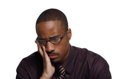 Mann, der - horizontal traurig schaut Lizenzfreies Stockbild