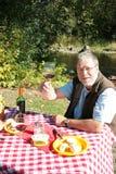 Mann, der im Freienpicknick genießt Lizenzfreies Stockfoto
